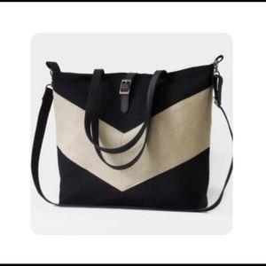 Black and Linen Chevron Tote/Diaper Bag